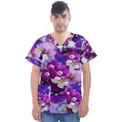 Graphic Background Pansy Easter Men s V Neck Scrub Top