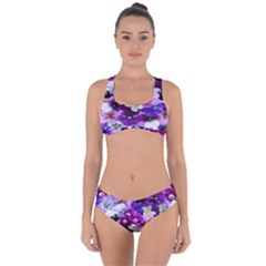 Graphic Background Pansy Easter Criss Cross Bikini Set