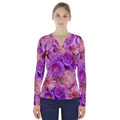 Flowers Blossom Bloom Nature Color V Neck Long Sleeve Top