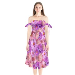 Flowers Blossom Bloom Nature Color Shoulder Tie Bardot Midi Dress