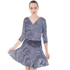 Abstract Art Decoration Design Quarter Sleeve Front Wrap Dress