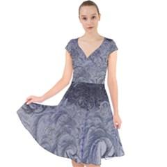 Abstract Art Decoration Design Cap Sleeve Front Wrap Midi Dress