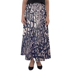 Pattern Design Texture Wallpaper Flared Maxi Skirt