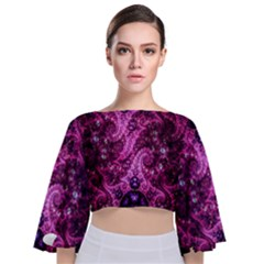 Fractal Art Digital Art Tie Back Butterfly Sleeve Chiffon Top