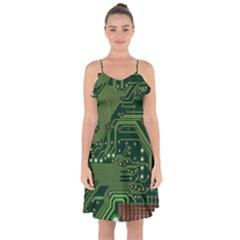 Board Computer Chip Data Processing Ruffle Detail Chiffon Dress