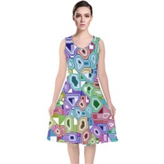 Board Interfaces Digital Global V Neck Midi Sleeveless Dress