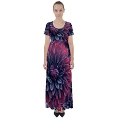 Flower Fractals Pattern Design Creative High Waist Short Sleeve Maxi Dress