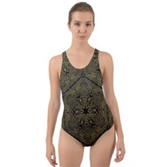 Texture Background Mandala Cut Out Back One Piece Swimsuit