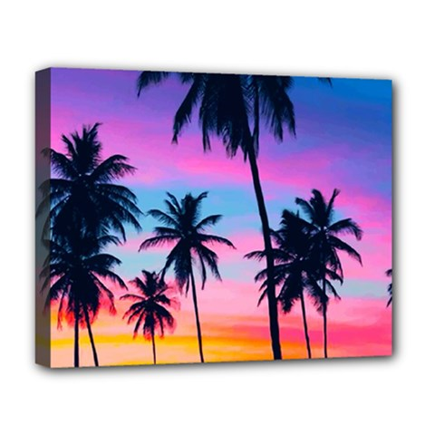 Sunset Palms Deluxe Canvas 20  X 16   by goljakoff