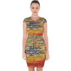 The Framework Drawing Color Texture Capsleeve Drawstring Dress