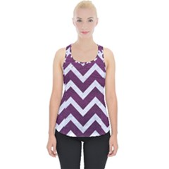 Chevron9 White Marble & Purple Leather Piece Up Tank Top