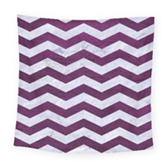 Chevron3 White Marble & Purple Leather Square Tapestry (large) by trendistuff
