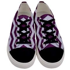 Chevron3 White Marble & Purple Leather Men s Low Top Canvas Sneakers