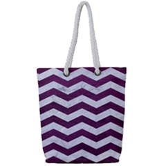 Chevron3 White Marble & Purple Leather Full Print Rope Handle Tote (small)