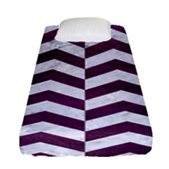 Chevron2 White Marble & Purple Leather Fitted Sheet (single Size) by trendistuff