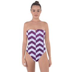 Chevron2 White Marble & Purple Leather Tie Back One Piece Swimsuit