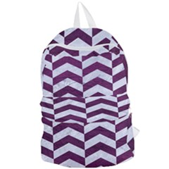 Chevron2 White Marble & Purple Leather Foldable Lightweight Backpack