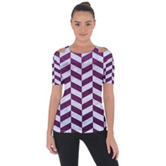 Chevron1 White Marble & Purple Leather Short Sleeve Top