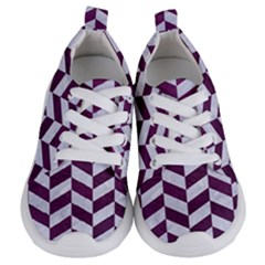 Chevron1 White Marble & Purple Leather Kids  Lightweight Sports Shoes