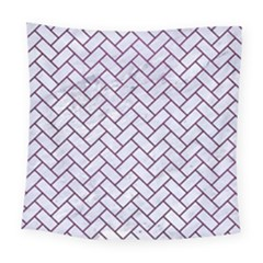 Brick2 White Marble & Purple Leather (r) Square Tapestry (large) by trendistuff