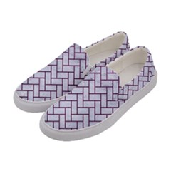 Brick2 White Marble & Purple Leather (r) Women s Canvas Slip Ons by trendistuff
