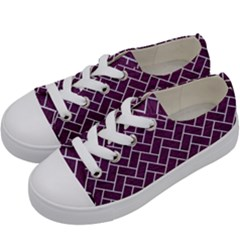 Brick2 White Marble & Purple Leather Kids  Low Top Canvas Sneakers by trendistuff