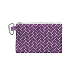 Brick2 White Marble & Purple Leather Canvas Cosmetic Bag (small) by trendistuff