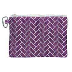 Brick2 White Marble & Purple Leather Canvas Cosmetic Bag (xl)