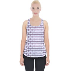 Brick1 White Marble & Purple Leather (r) Piece Up Tank Top