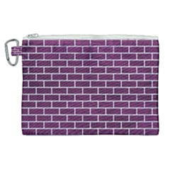 Brick1 White Marble & Purple Leather Canvas Cosmetic Bag (xl) by trendistuff