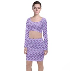 Woven2 White Marble & Purple Glitter (r) Long Sleeve Crop Top & Bodycon Skirt Set