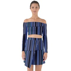 Shades Of Blue Stripes Striped Pattern Off Shoulder Top With Skirt Set
