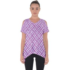 Woven2 White Marble & Purple Glitter Cut Out Side Drop Tee
