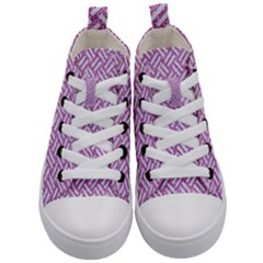 Woven2 White Marble & Purple Glitter Kid s Mid Top Canvas Sneakers