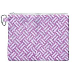 Woven2 White Marble & Purple Glitter Canvas Cosmetic Bag (xxl) by trendistuff