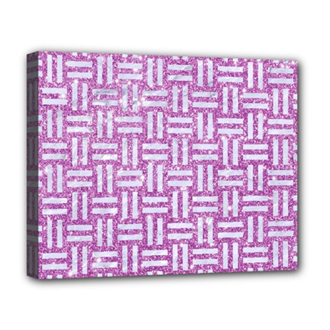 Woven1 White Marble & Purple Glitter Deluxe Canvas 20  X 16   by trendistuff