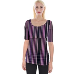 Shades Of Pink And Black Striped Pattern Wide Neckline Tee
