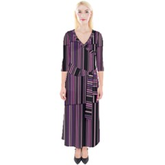 Shades Of Pink And Black Striped Pattern Quarter Sleeve Wrap Maxi Dress