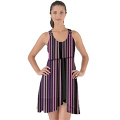 Shades Of Pink And Black Striped Pattern Show Some Back Chiffon Dress