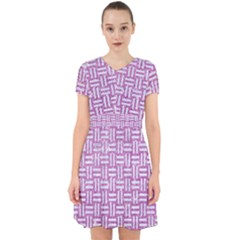 Woven1 White Marble & Purple Glitter Adorable In Chiffon Dress