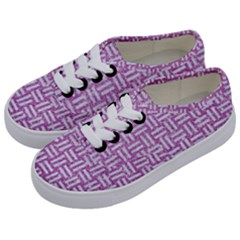 Woven1 White Marble & Purple Glitter Kids  Classic Low Top Sneakers by trendistuff