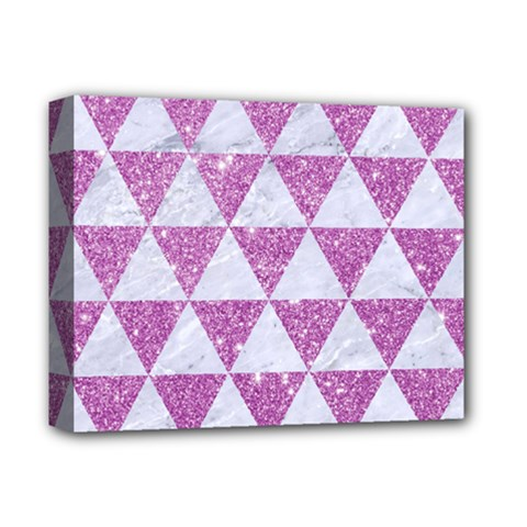 Triangle3 White Marble & Purple Glitter Deluxe Canvas 14  X 11  by trendistuff