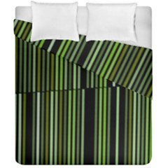 Shades Of Green Stripes Striped Pattern Duvet Cover Double Side (california King Size) by yoursparklingshop