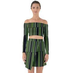 Shades Of Green Stripes Striped Pattern Off Shoulder Top With Skirt Set