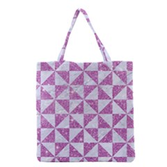 Triangle1 White Marble & Purple Glitter Grocery Tote Bag by trendistuff
