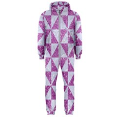 Triangle1 White Marble & Purple Glitter Hooded Jumpsuit (men)