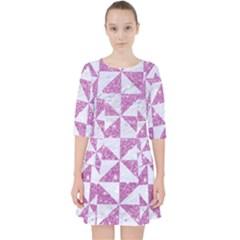 Triangle1 White Marble & Purple Glitter Pocket Dress