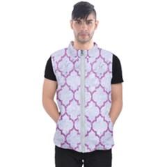 Tile1 White Marble & Purple Glitter (r) Men s Puffer Vest