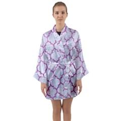 Tile1 White Marble & Purple Glitter (r) Long Sleeve Kimono Robe
