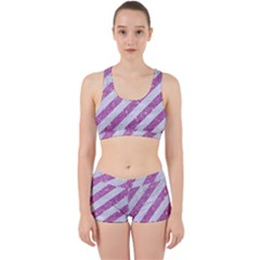 Stripes3 White Marble & Purple Glitter (r) Work It Out Gym Set